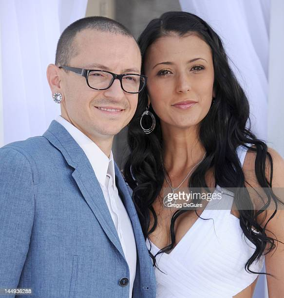Musician Chester Bennington of Linkin Park and wife Talinda Ann Bentley arrive at the 2012 Billboard Music Awards at MGM Grand on May 20 2012 in Las...