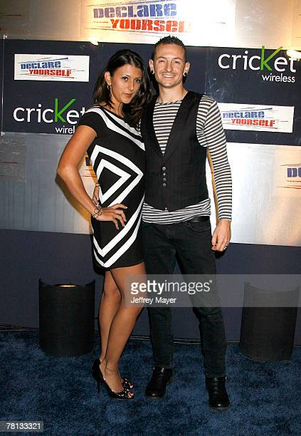 Musician Chester Bennington of Linkin Park and wife Talinda Bennington arrive at the Declare Yourself 2007 event held at the Wallis Annenberg...