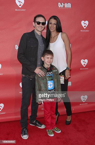Musician Chester Bennington son Tyler Lee Bennington and wife Talinda Ann Bentley attend the 2013 MusiCares MAP Fund Benefit Concert honoring Chester...
