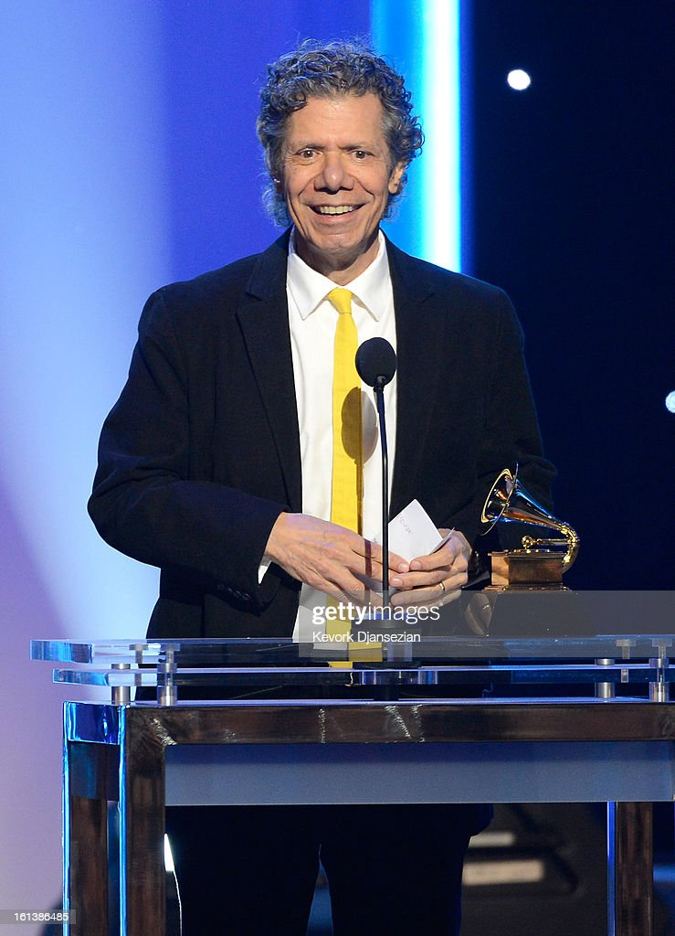 Musician Chick Corea accepts Best Improvised Jazz Solo award for 'Hot House' onstage at the The 55th Annual GRAMMY Awards at Nokia Theatre on February 10, 2013 in Los Angeles, California.