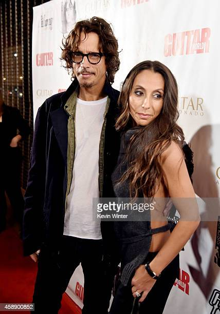 Musician Chris Cornell and his wife Vicky Karayiannis arrive at 'An Evening With Jimmy Page And Chris Cornell In Conversation' at the Ace Hotel on...