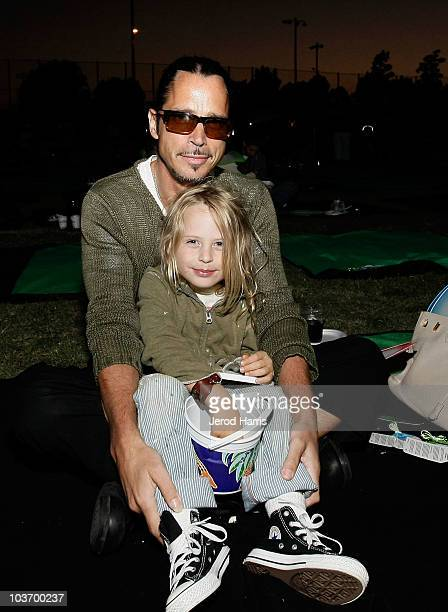 Musician Chris Cornell and son Christopher attend Picnic In The Park for 'Tinker Bell And The Great Fairy Rescue' at La Cienega Park on August 28...