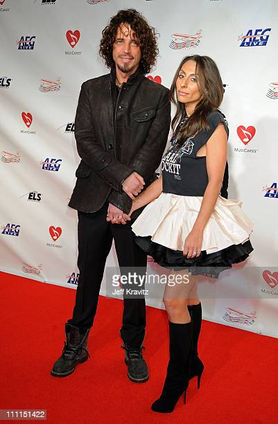 Musician Chris Cornell and wife Vicky Cornell arrive at the 2009 MusiCares Person of the Year Tribute to Neil Diamond at the Los Angeles Convention...