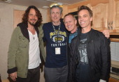Musician Chris Cornell KROQ DJ's Gene 'Bean' Baxter and Kevin Ryder and musician Matt Cameron attend the 20th Annual KROQ Weenie Roast Y Fiesta held...