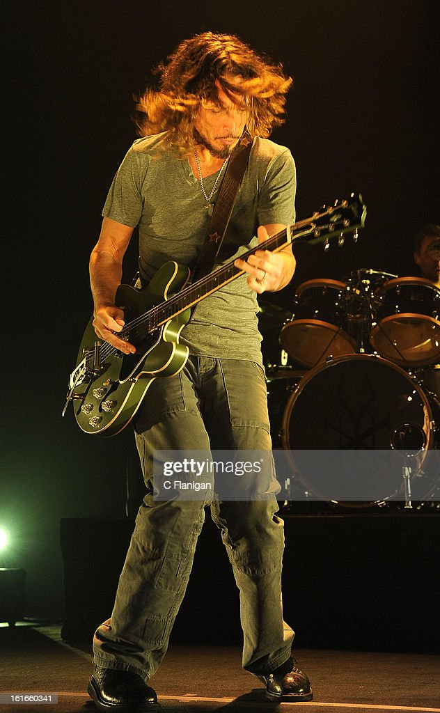 Musician <a gi-track='captionPersonalityLinkClicked' href=/galleries/search?phrase=Chris+Cornell&family=editorial&specificpeople=221615 ng-click='$event.stopPropagation()'>Chris Cornell</a> of Soundgarden performs at The Fox Theatre on February 12, 2013 in Oakland, California.
