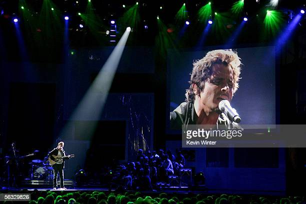 Musician Chris Cornell of the band Audioslave performs onstage at the VH1 Big In '05 Awards held at Stage 15 on the Sony lot on December 3 2005 in...
