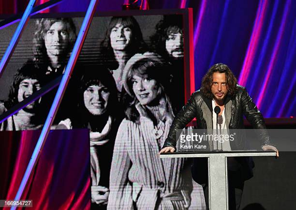 Musician Chris Cornell onstage during the 28th Annual Rock and Roll Hall of Fame Induction Ceremony at Nokia Theatre LA Live on April 18 2013 in Los...