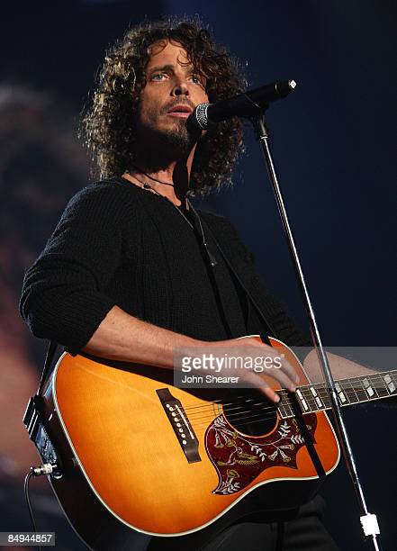 Musician Chris Cornell performs at the 2009 MusiCares Person of the Year Tribute to Neil Diamond at the Los Angeles Convention Center on February 6...