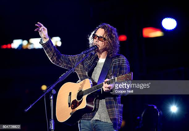 Musician Chris Cornell performs at the Dallas Premiere of the Paramount Pictures film '13 Hours The Secret Soldiers of Benghazi' at the ATT Dallas...