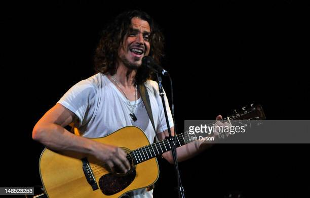 Musician Chris Cornell performs live on stage during his acoustic 'Songbook' tour at London Palladium on June 18 2012 in London United Kingdom