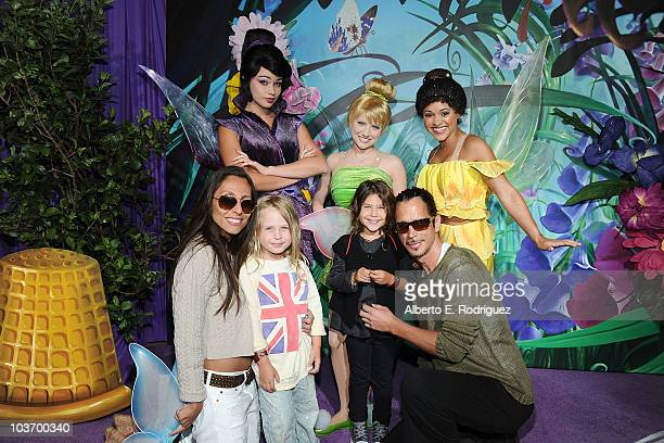 Musician Chris Cornell Vicky Karayiannis son Christopher and daughter Toni pose with Tinker Bell and the Fairies at Picnic In The Park For 'Tinker...