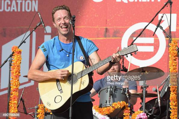 Musician Chris Martin of Coldplay performs on stage at the 2015 Global Citizen Festival to end extreme poverty by 2030 in Central Park on September...