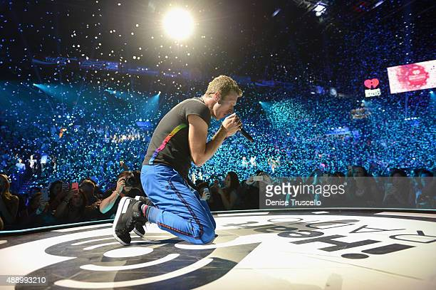Musician Chris Martin of Coldplay performs onstage at the 2015 iHeartRadio Music Festival at MGM Grand Garden Arena on September 18 2015 in Las Vegas...