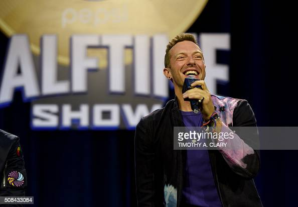 Musician Chris Martin of Coldplay speaks at the Pepsi Super Bowl Halftime Press Conference on February 4 2016 at the Moscone Convention Center in San...