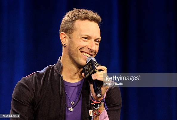 Musician Chris Martin of Coldplay speaks during the Pepsi Super Bowl 50 Halftime Press Conference at the Moscone Center West on February 4 2016 in...