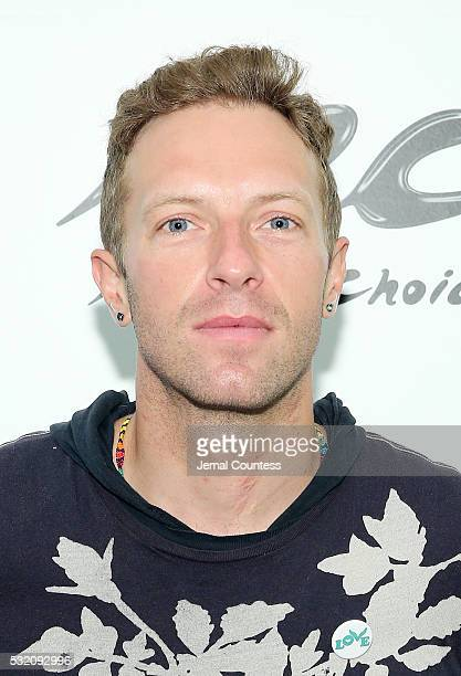 Musician Chris Martin of the band Coldplay poses for a photo during a visit to Music Choice at Music Choice on May 18 2016 in New York City