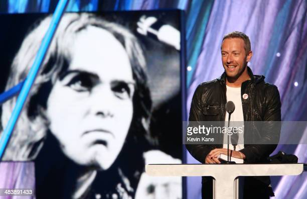 Musician Chris Martin speaks onstage at the 29th Annual Rock And Roll Hall Of Fame Induction Ceremony at Barclays Center of Brooklyn on April 10 2014...