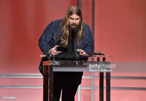 Musician Chris Stapleton accepts award for Best Country Solo Performance for Traveller onstage during the GRAMMY PreTelecast at The 58th GRAMMY...