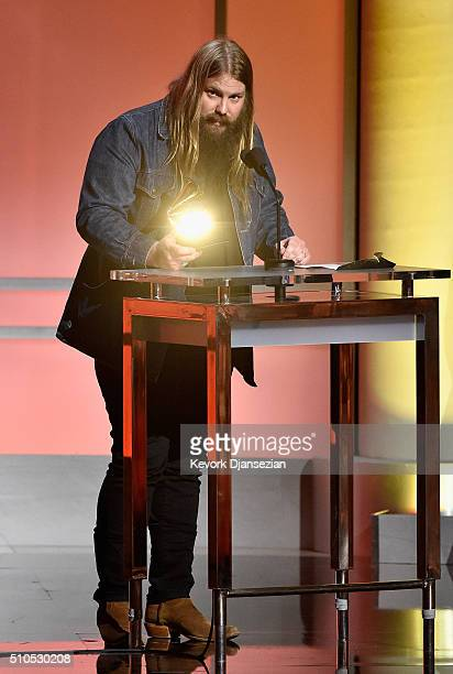Musician Chris Stapleton accepts the 'Best Country Solo Performance' award for 'Traveller' onstage during the GRAMMY PreTelecast at The 58th GRAMMY...