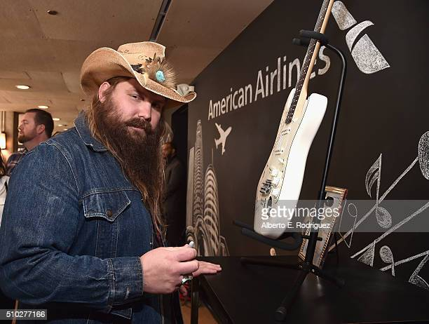 Musician Chris Stapleton attends Lucian Grainge's 2016 Artist Showcase Presented by American Airlines and Citi at The Theatre at Ace Hotel Downtown...