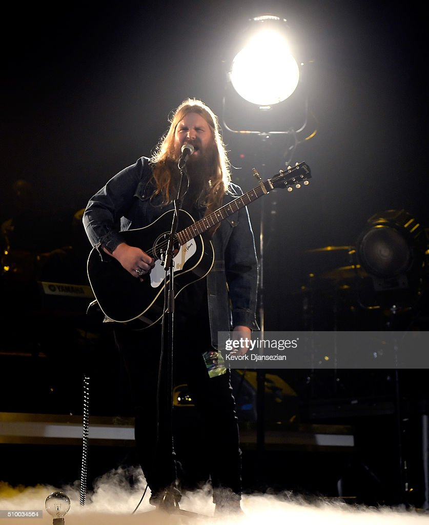 Musician <a gi-track='captionPersonalityLinkClicked' href=/galleries/search?phrase=Chris+Stapleton&family=editorial&specificpeople=3359090 ng-click='$event.stopPropagation()'>Chris Stapleton</a> rehearses onstage during the 2016 MusiCares Person Of The Year honoring Lionel Richie at Los Angeles Convention Center on February 13, 2016 in Los Angeles City.