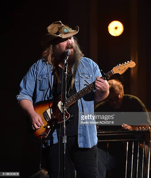 Musician Chris Stapleton rehearses onstage during the 51st Academy of Country Music Awards at MGM Grand Garden Arena on April 1 2016 in Las Vegas...