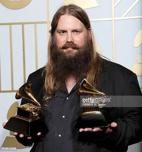 Musician Chris Stapleton winner of Best Country Album and Best Country Solo Performance for 'Traveller' poses in the press room during The 58th...