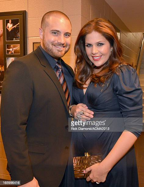 Musician Chris Tyrrell and singer Hillary Scott of Lady Antebellum attend the 48th Annual Academy of Country Music Awards at the MGM Grand Garden...