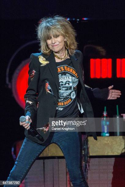 Musician Chrissie Hynde of Pretenders performs on stage at Viejas Arena on March 2 2017 in San Diego California