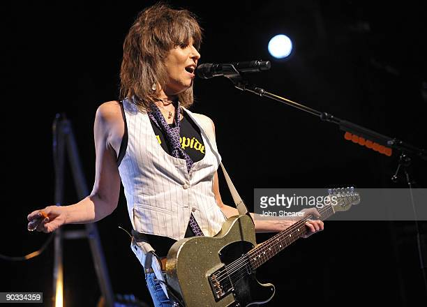 Musician Chrissie Hynde of The Pretenders performs on the 'Break Up the Concrete' tour at The Greek Theatre on September 3 2009 in Los Angeles...