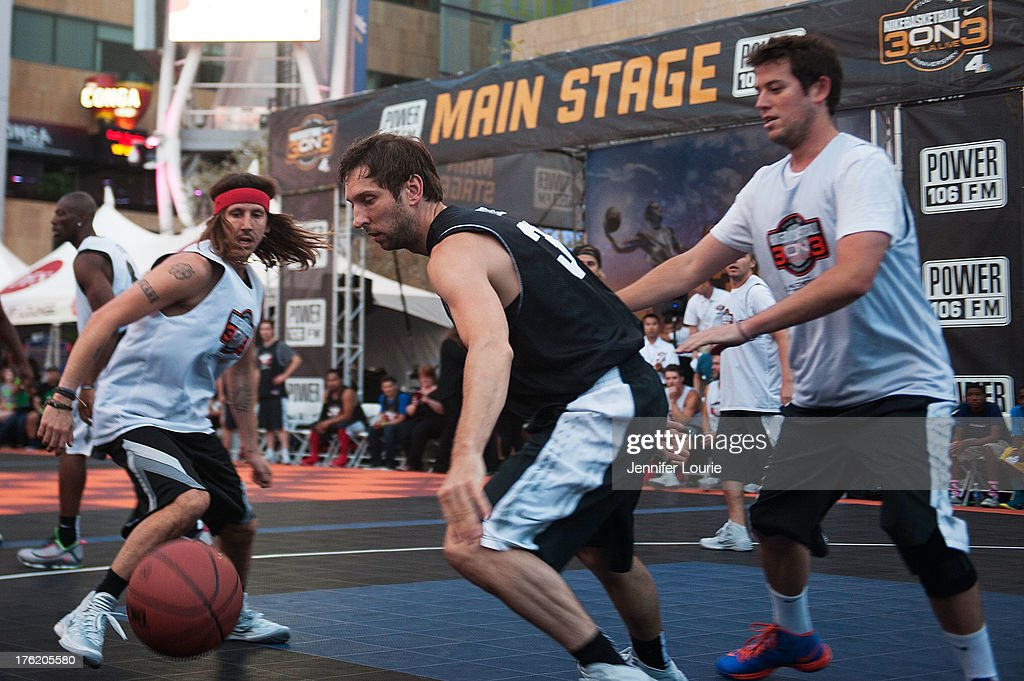 Musician Cisco Adler, actor Joel David Moore, and critic Ben Lyons attend the 5th annual Nike basketball 3ON3 tournament presented by NBC4 southern california held at L.A. LIVE on August 9, 2013 in Los Angeles, California.