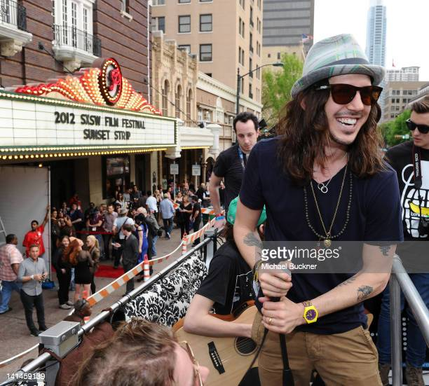 Musician Cisco Adler arrives to the world premiere of 'Sunset Strip' on the Canwenetworkcom Bus during the 2012 SXSW Music FIlm Interactive Festival...