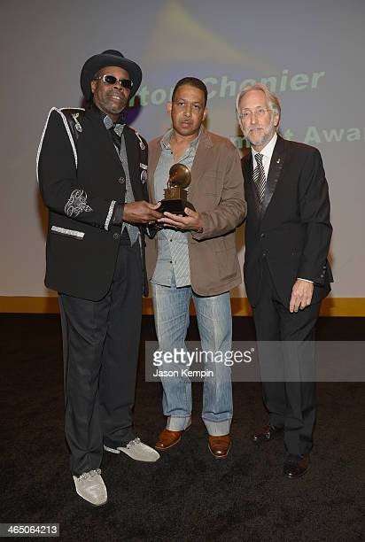 Musician CJ Chenier Michael Vital and The Recording Academy president/CEO Neil Portnow attend the Special Merit Awards Ceremony as part of the 56th...