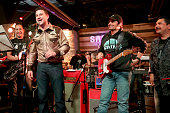 Musician Cleto Escobedo Jr host Jimmy Kimmel musician Brad Paisley and tv personality Guillermo Rodriguez perform onstage at the Jimmy Kimmel Live...