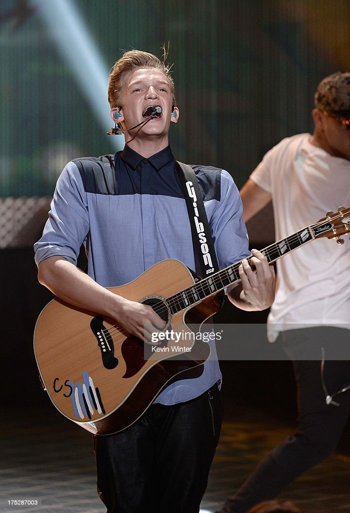 Musician <a gi-track='captionPersonalityLinkClicked' href=/galleries/search?phrase=Cody+Simpson&family=editorial&specificpeople=7068455 ng-click='$event.stopPropagation()'>Cody Simpson</a> onstage during CW Network's 2013 Young Hollywood Awards presented by Crest 3D White and SodaStream held at The Broad Stage on August 1, 2013 in Santa Monica, California.