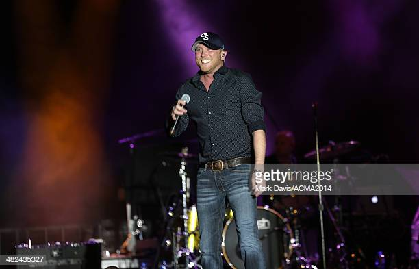 Musician Cole Swindell performs onstage during the ACM Week Kick Off Party at The LINQ on April 3 2014 in Las Vegas Nevada