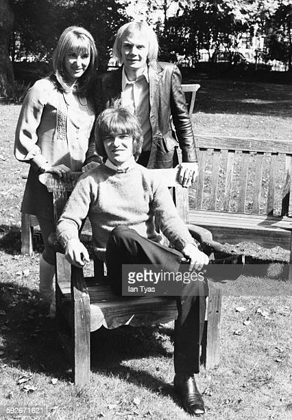 Musician Colin Petersen exdrummer with the band the 'Bee Gees' and his wife Joanne Newfield pictured with the new signing for their new production...