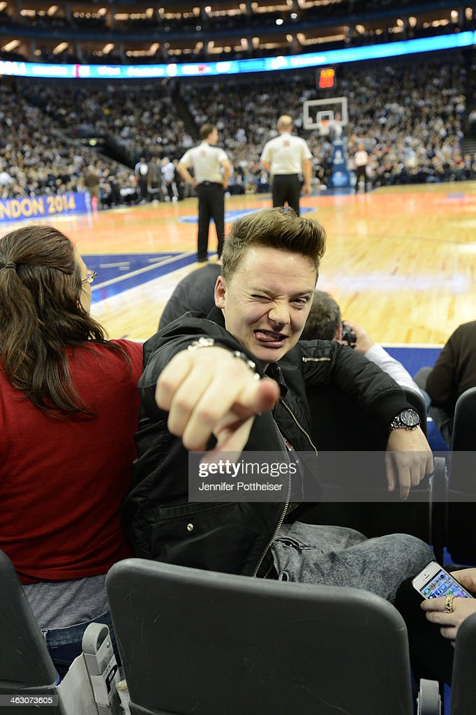 Musician Conor Maynard takes in the game of the Brooklyn Nets against the Atlanta Hawks as part of the 2014 Global Games on January 16, 2014 at The O2 Arena in London, England.