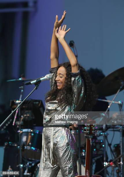 Musician Corinne Bailey Rae performs onstage at the Hollywood Bowl Presents the 39th Anniversary Playboy Jazz Festival at the Hollywood Bowl on June...