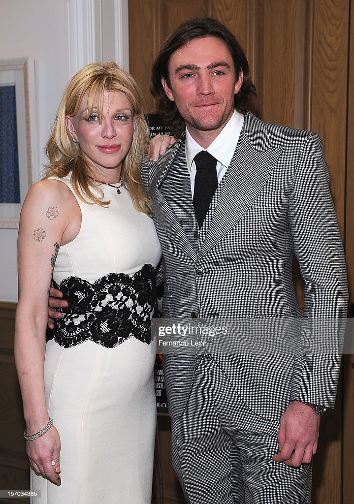 Musician <a gi-track='captionPersonalityLinkClicked' href=/galleries/search?phrase=Courtney+Love&family=editorial&specificpeople=156418 ng-click='$event.stopPropagation()'>Courtney Love</a> and director/writer Jay Bulger (R) attend the 'Beware Of Mr. Baker' New York Screening at Crosby Street Hotel on November 27, 2012 in New York City.