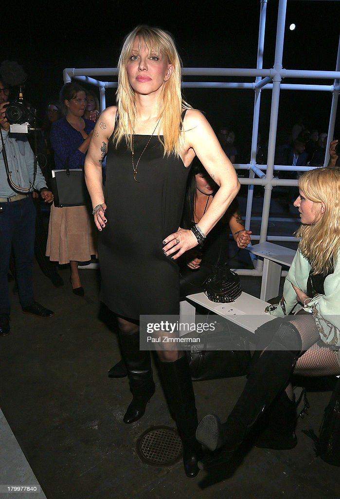 Musician Courtney Love attends the Alexander Wang show during Spring 2014 Mercedes-Benz Fashion Week at Pier 94 on September 7, 2013 in New York City.