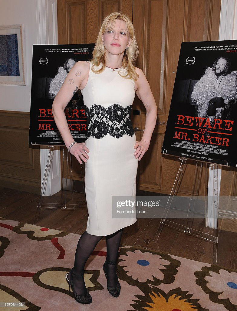 Musician Courtney Love attends the 'Beware Of Mr Baker' New York Screening at Crosby Street Hotel on November 27 2012 in New York City