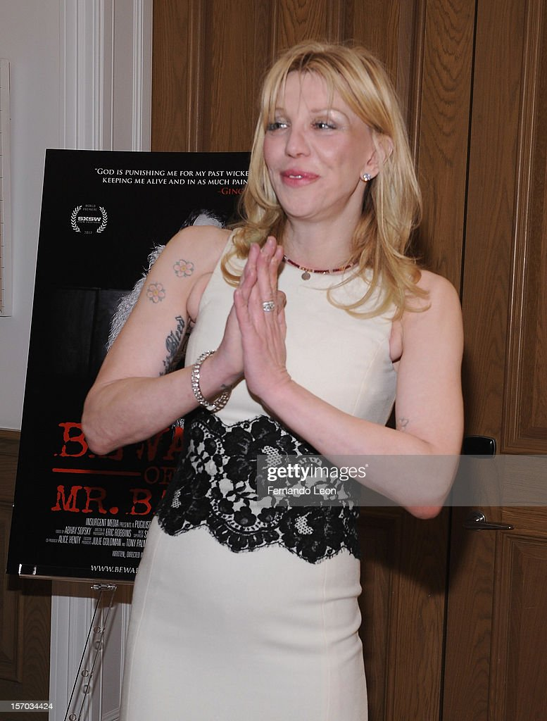 Musician <a gi-track='captionPersonalityLinkClicked' href=/galleries/search?phrase=Courtney+Love&family=editorial&specificpeople=156418 ng-click='$event.stopPropagation()'>Courtney Love</a> attends the 'Beware Of Mr. Baker' New York Screening at Crosby Street Hotel on November 27, 2012 in New York City.