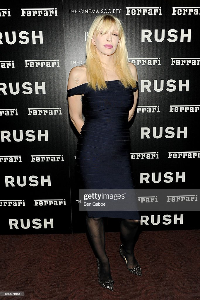 Musician Courtney Love attends the Ferrari & The Cinema Society screening of 'Rush' at Chelsea Clearview Cinemas on September 18, 2013 in New York City.