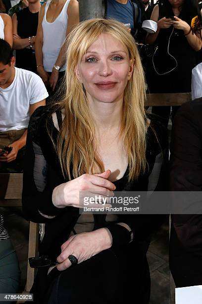 Musician Courtney Love attends the Givenchy Menswear Spring/Summer 2016 show as part of Paris Fashion Week on June 26 2015 in Paris France