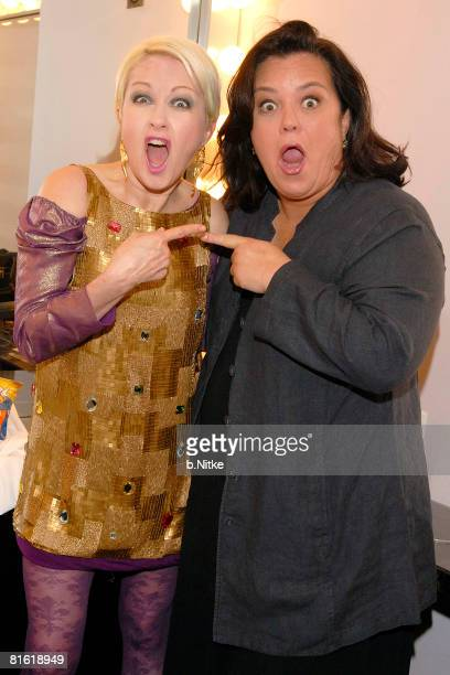 Musician Cyndi Lauper and comedian Rosie O'Donnell pose backstage during the True Colors Tour on June 3 2008 at Radio City Music Hall in New York City