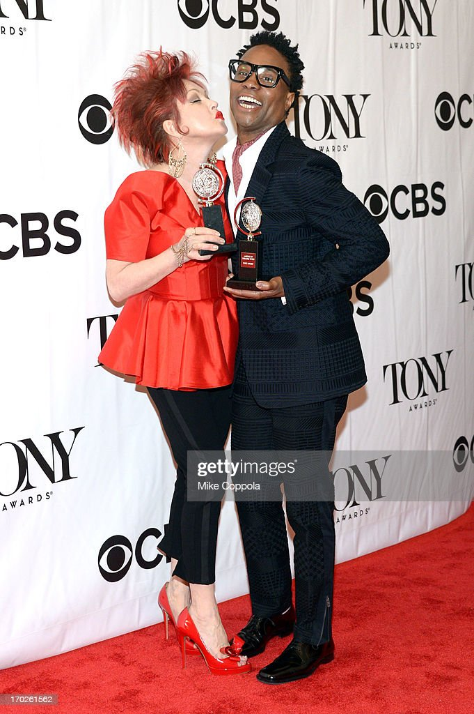 Musician Cyndi Lauper, winner of the Tony Award for Best Original Score for 'Kinky Boots,' and Billy Porter, winner of the Tony Award for Best Performance by an Actor in a Leading Role in a Musical for 'Kinky Boots,' pose in the press room at The 67th Annual Tony Awards at Radio City Music Hall on June 9, 2013 in New York City.