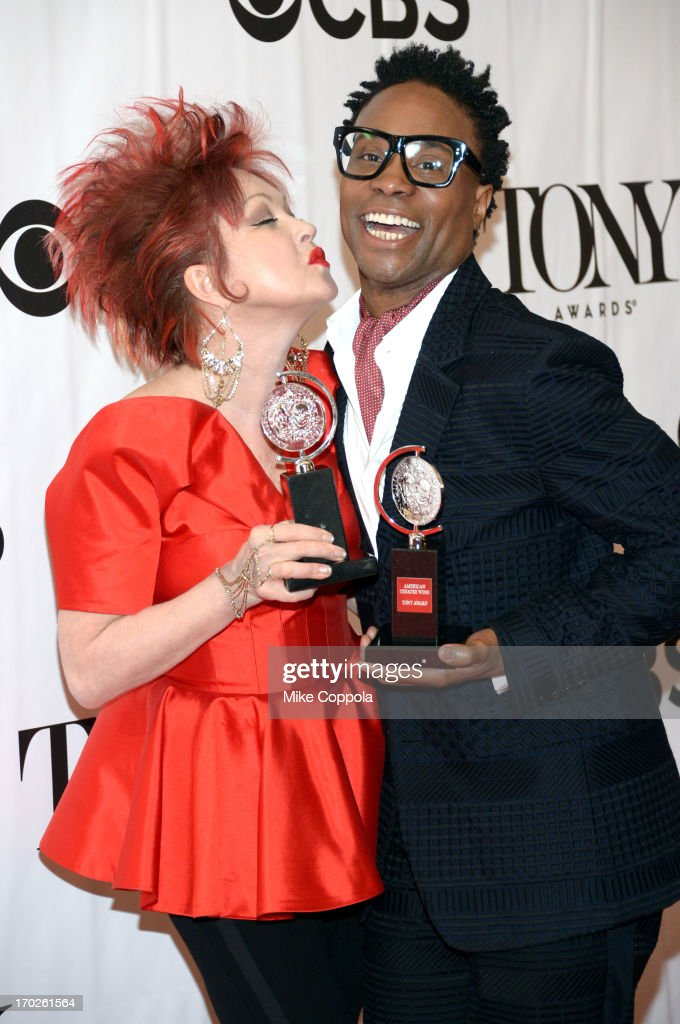 Musician <a gi-track='captionPersonalityLinkClicked' href=/galleries/search?phrase=Cyndi+Lauper&family=editorial&specificpeople=171290 ng-click='$event.stopPropagation()'>Cyndi Lauper</a>, winner of the Tony Award for Best Original Score for 'Kinky Boots,' and <a gi-track='captionPersonalityLinkClicked' href=/galleries/search?phrase=Billy+Porter&family=editorial&specificpeople=787592 ng-click='$event.stopPropagation()'>Billy Porter</a>, winner of the Tony Award for Best Performance by an Actor in a Leading Role in a Musical for 'Kinky Boots,' pose in the press room at The 67th Annual Tony Awards at Radio City Music Hall on June 9, 2013 in New York City.