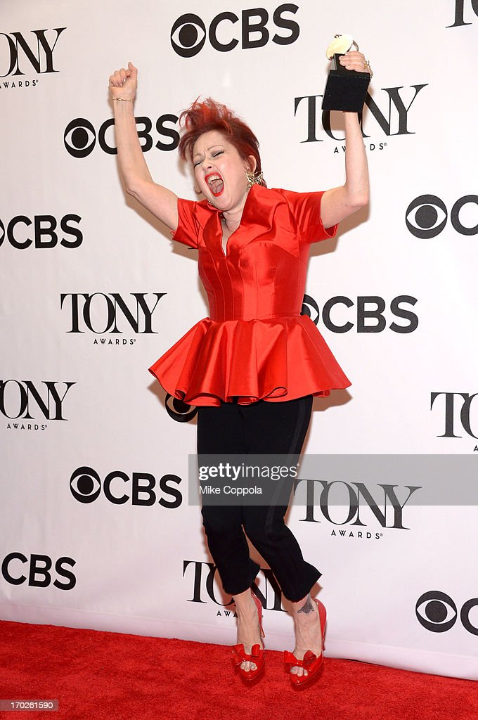 Musician Cyndi Lauper, winner of the Tony Award for Best Original Score for 'Kinky Boots,' poses in the press room at The 67th Annual Tony Awards at Radio City Music Hall on June 9, 2013 in New York City.