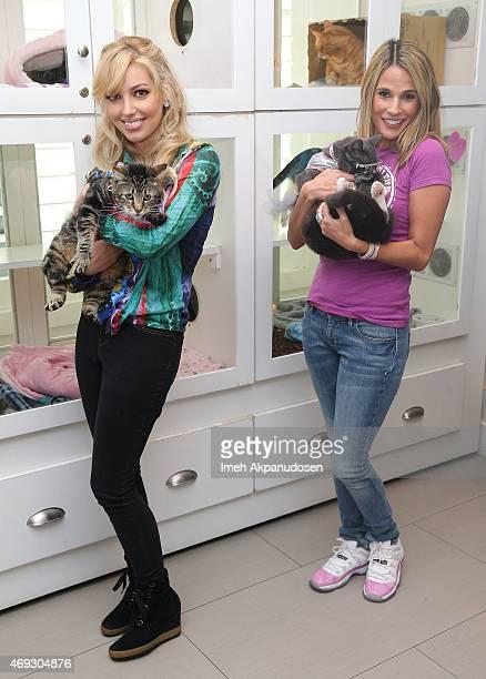 Musician Dalal Bruchmann with Tara aka 'The Hero Cat' and BonnieJill Laflin with Bagel aka 'Sunglass Cat' attend CATFE's Cat Cafe Pop Up Celebration...